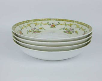 Vintage Noritake Arlene Coupe Soup Bowls (4) Circa 1930's