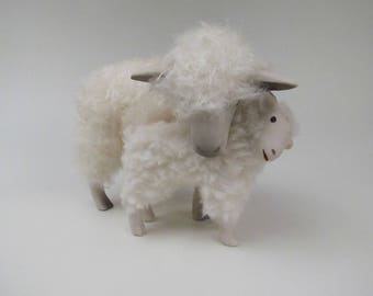 Handcrafted English Cotswold Sheep Figure Bending Down to Hold Her Lamb Close