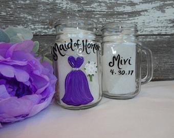 Hand Painted RUSTIC Bridesmaid Mason Jars, Bridesmaid Gifts, Rustic Bridesmaid Glasses, Dress Mason Jars, Rustic Country Wedding, Purple