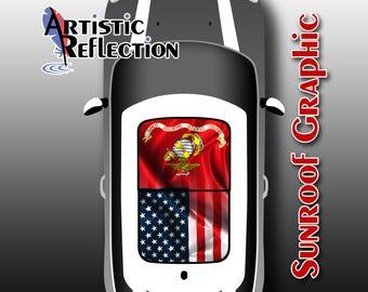 USMC Flag with US Flag Sunroof Graphic for MINI Cooper R50, R53, R56, R55, R60, R61