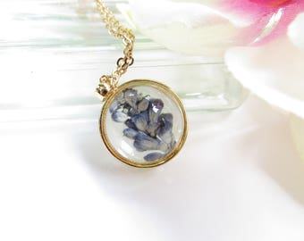 Dried Lavender Necklace, Pressed Real Flower Pendant In Gold Plate, Flower Pressed Between Glass