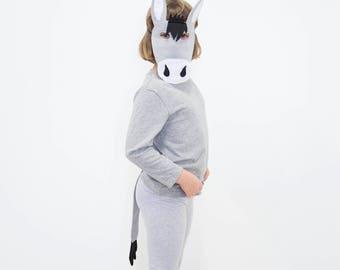 Child's Felt Donkey Mask and Tail - Halloween, Costume, Dress Up