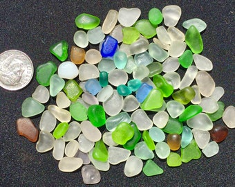 Beach Glass or Sea Glass of Hawaii Jewelry Quality 100 CORNFLOWER blue! LIME! SALE! Only 35 dollars! Jg! Bulk Sea Glass Sea Glass Bulk!