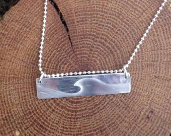 Silver Wave Bar Necklace/ Ocean Necklace/ Surfer Girl Necklace