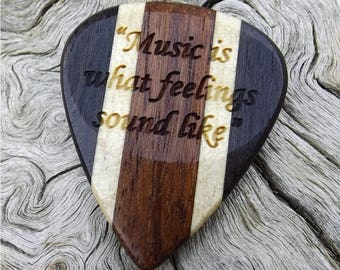 Handmade Multi-Wood Guitar Pick - Premium Quality - Laser Engraved On Each Side - Actual Pick Shown - No Stock Photos - Artisan Pick