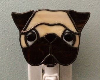 Stained Glass Pug Dog Night Light