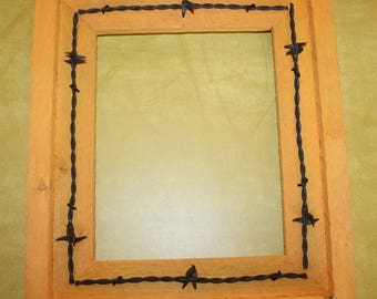 Rustic Wood Picture Frame 8x10 Orange with or without Barbed Wire Western Recycled with Glass and Backing