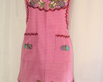 New Small Pink Floral Embroidered Folk Peasant Traditional Mexican Multi-use Apron.