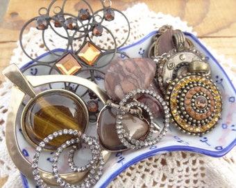 Vintage Jewelry Lot - Tigers Eye Pendant - Topaz Rhinestone - Rock Charms - Filigree - Tribal Jewelry Findings - D128