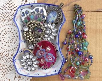 Vintage Jewelry Lot - Large Tassel - Beaded Tassel -Ruby Hand painted Blue Flower Pendant - Faux Rhinestone - Vintage Jewelry Destash D192