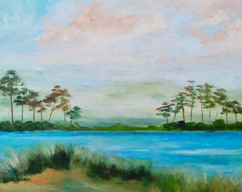 Modern Impressionist Marsh Kiawah Charleston South Carolina Original Oil Painting by Rebecca Croft