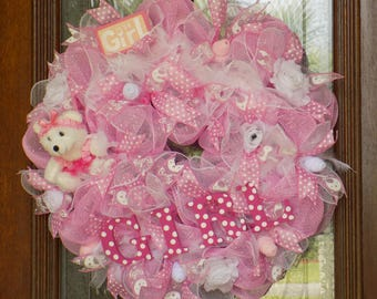 Baby Girl Wreath - Baby Shower Wreath - Pink and White Mesh Wreath