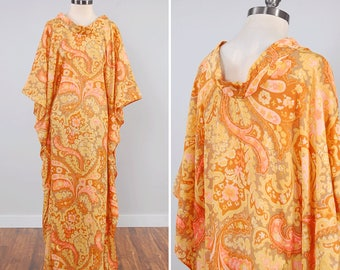 Vintage 60s psychedelic paisley print Stella Fagin caftan maxi / Semi sheer lightweight cotton / Flutter draped design / Cowl neck
