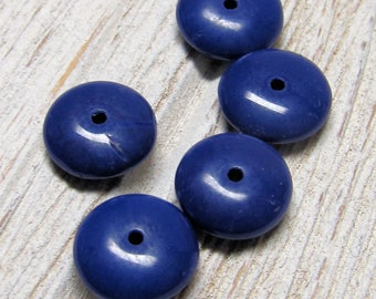 Glass Beads 10 X 4mm Smooth Cobalt Blue Opaque Saucer Rondelles - 20 Pieces