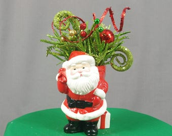 Vintage Santa Centerpiece, Santa Arrangement, Christmas Decoration, Christmas Santa, Santa Table Decoration, Holiday Centerpiece