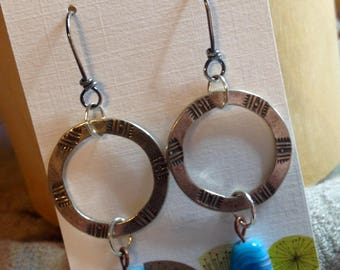 Artisan earrings with vintage glass beads
