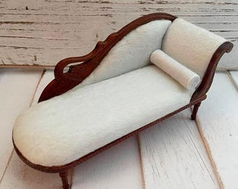 SALE Miniature Chaise, Swan Fainting Couch, Walnut Chaise, Dollhouse Furniture, 1:12 Scale, Miniature Collectible