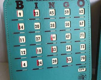 Vintage Teal Turquoise Set of 18 Pla-mor Bingo Cards