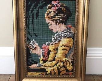 "Vintage ""Young Girl Reading"" Jean-Honore Fragonard Framed Needlepoint Shabby"
