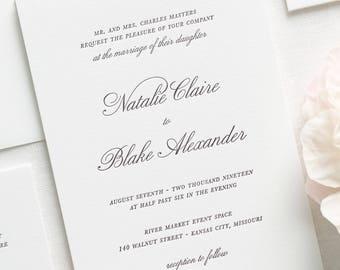 Classic Script Letterpress Wedding Invitations - Deposit