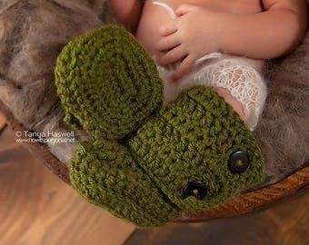 Crochet Baby Booties, Baby Ankle Boots, Crochet Booties, Baby Shoes In Olive