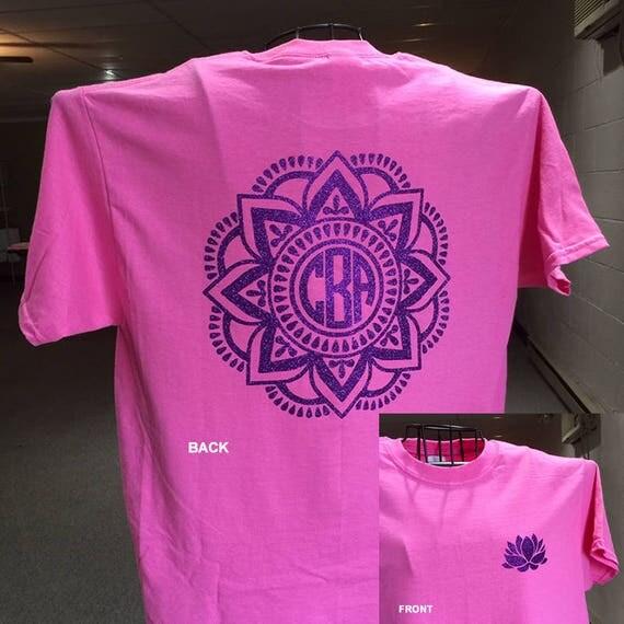 Namaste-Mandala t-shirt t-shirt Yoga t-shirt Print t-shirt Monogram t-shirt 100% cotton t-shirt Glitter print t-shirt