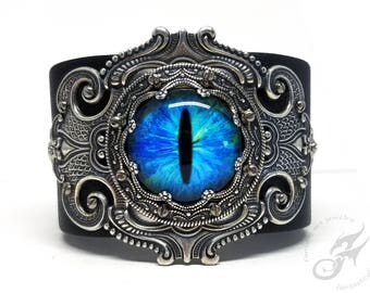 Gothic Steampunk BLUE Evil Eye Cuff ~ Black Leather & Silver Plated Brass ~ Two Snap Adjustable Leather Cuff ~ Fits to 8 Inch Wrist #B0174