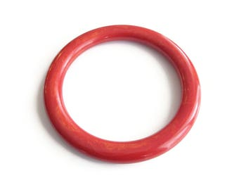Vintage Red Bakelite Bangle Bracelet - Tube Bangle, Bangle Bracelet, Burnt Sienna, Marbled Swirled, Stacking Bracelet, Vintage Jewelry