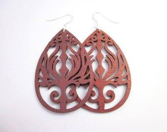 Brown Drops -- Brown Dangle Earrings -- Large Teardrop Earrings -- Lightweight Brown Earrings -- Brown Cut Wood Earrings -- Sienna Earrings