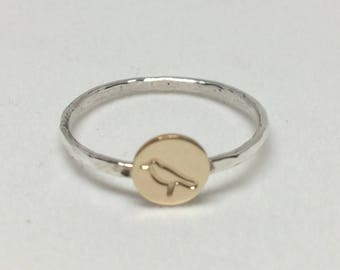 Stacking Ring Bird Gold Circle Ring Silver Stackable Ring Hand Stamped Bird Ring Silver Tiny Stacking Ring Jewelry Made in NH For Her