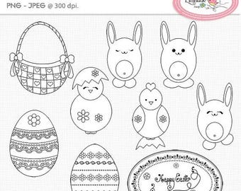65%OFF SALE Easter digital stamps, Easter line art, Easter egg digital stamp, Easter basket digital stamp, Coloring images, DS62
