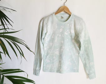 Seafoam and white printed long sleeve t-shirt - Small