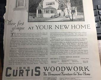 Curtis kit house ad circa 1921 Clinton Iowa 10 x 13 original ad. Real-estate home desgn 10 x 13