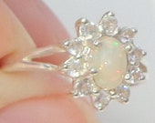 Sz 7, Welo Opal Ring, Natural Gemstone, Sterling Silver, Fine Jewelry, Ethiopian Opals, White Topaz Halo, OOAK