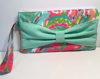 Lily Pulitzer Casa Banana Bow Clutch Floral Wristlet Spring Clutch Summer Clutch Cruise Bag Vacation Bag