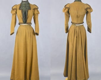 1890s Victorian Walking Suit, Antique Clothing, Victorian Edwardian Wool & Silk Suit Jacket and Skirt