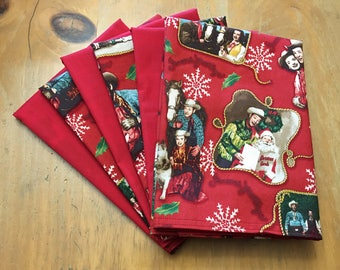 Roy Rogers Red Christmas Reusable Cloth Napkins Set of 6 Double Sided 100% Cotton Eco Friendly Large 17 x 17