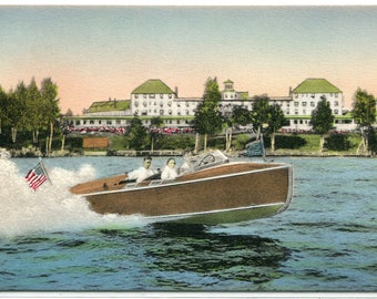 Speed Motor Boat Rangeley Lake Hotel Maine hand colored postcard