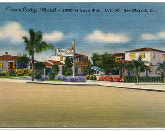 TraveLodge Motel US 80 Highway San Diego California linen postcard