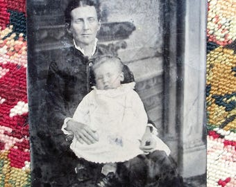 Tintype Prairie Mother and Child