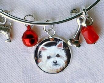 Westie Charm Bracelet ~ Girlfriend Gift ~ Wire Bangle ~ July Birthday ~ West Highland Terrier Owner Gift ~ Westie Jewelry