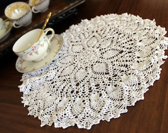Openworked Doily, Crochet Centerpiece, White Crocheted Vintage Table Linens 13690