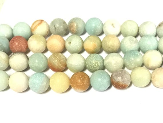10 Beads -  8 mm size round frosted amazonite gemstone beads - GM442s