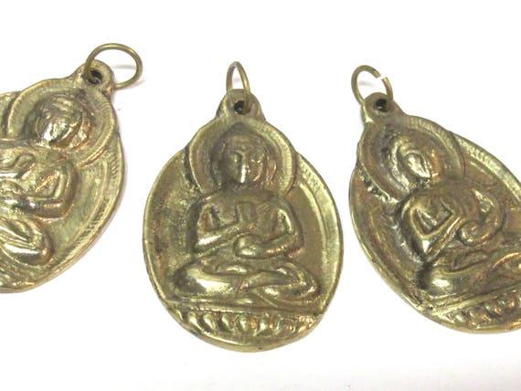 3 Pendants set - Large size Tibetan Brass Buddha pendants - CP025s