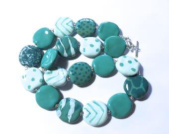 Kazuri Beaded Necklace, Ceramic Jewelry, Kazuri Bead Necklace, Statement Necklace, Teal and Light Blue Neclkace