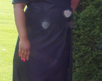 Denim wrap dress with asymmetric hem/open back.