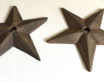 Antique Artictural Salvage - Pair of Old Iron Masonry Stars