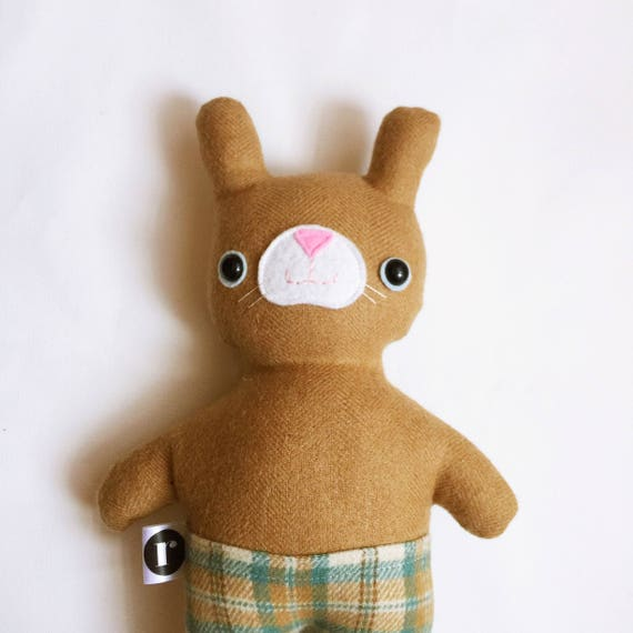 Mister Bunnypants in Tan Wool and Aqua Plaid - READY TO SHIP