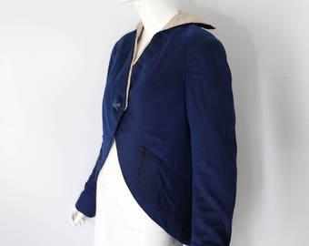 1900s EDWARDIAN deep blue wool CUTAWAY art nouveau KIMONO lined frock coat jacket vintage 1910s