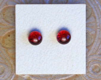 Dichroic Glass Earrings, Burgundy  DGE-1197